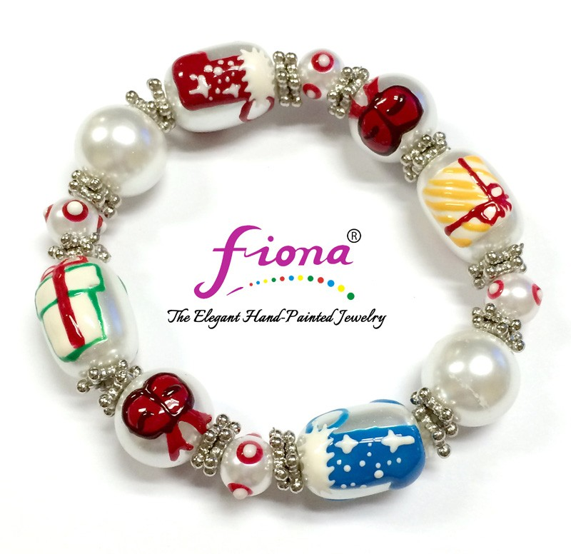 New Christmas Painted Stretch Bracelet - Pearl Gifts, Red